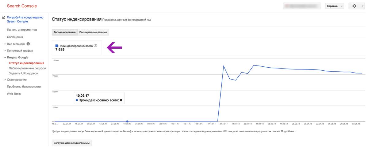 Количество страниц, прошедших индексацию в Google